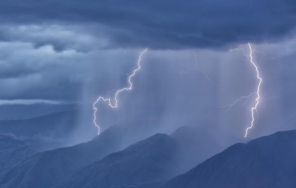 Картинка лес, горы, тучи, дождь, молния, панорама