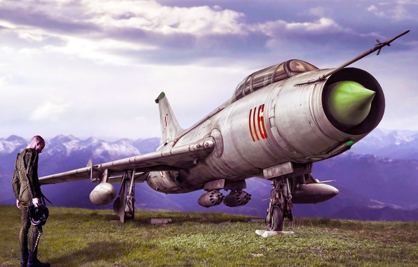 Картинка рисунок, Небо, Серый, Нос, АРТ, Авиация, истребитель-бомбардировщик, Пилот, Летчик, 116, Fitter, Су-7
