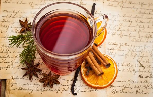 Картинка чай, апельсин, чашка, напиток, корица, ваниль, пряности, бадьян, анис, глинтвейн
