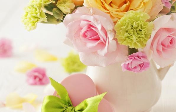 Картинка любовь, цветы, сердце, розы, букет, ваза, нежные, love, heart, flowers, roses, delicate, pastel