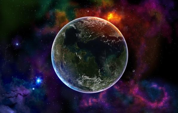 Картинка Планета, Космос, Земля, Цвета, Звёзды