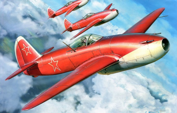 Картинка облака, рисунок, арт, самолёты, ВВС СССР, ЯК-15, Feather