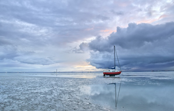 Картинка пейзаж, лодка, мель, England, Thorpe Bay, Southend-on-Sea