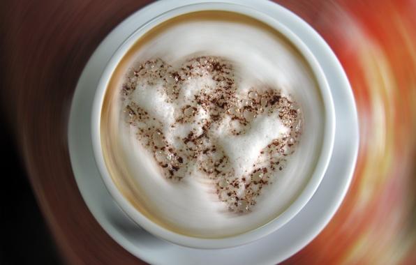 Картинка сердце, кофе, Любовь, чашка, капучино