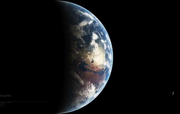 Картинка планета, спутники, ancient, Mars, Deimos, Fobos
