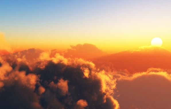 Картинка солнце, облака, пейзаж, горы, небеса, вид, красота, эйфория, mountains, закат солнца, clouds, sunsets, sundown