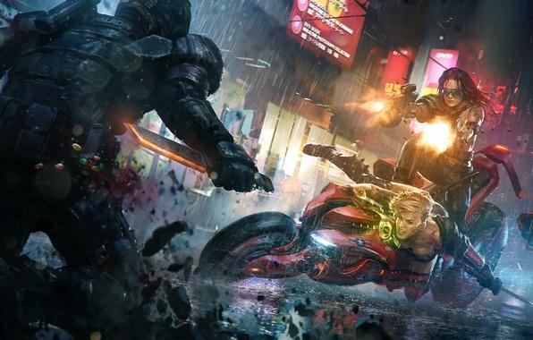 Картинка город, огни, оружие, девушки, дождь, меч, арт, солдат, нож, мотоцикл, стрельба, битва, Marek Okon