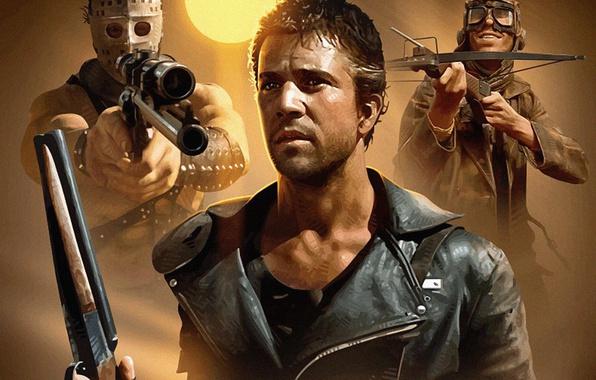 Фото обои закат, Безумный Макс, маска, Mad Max, арбалет, пилот, актер, Воин Дороги, Mad Max 2: The ...