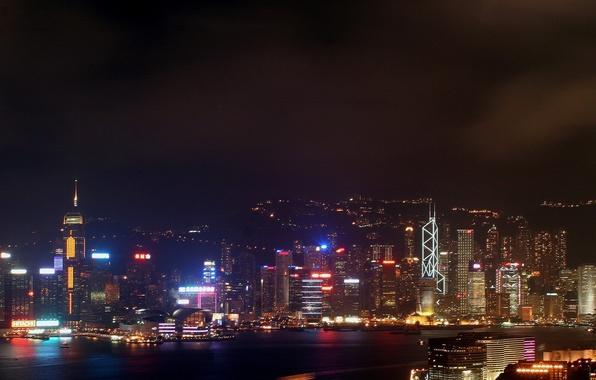 Картинка ночь, Гонконг, небоскребы, Огни, неон