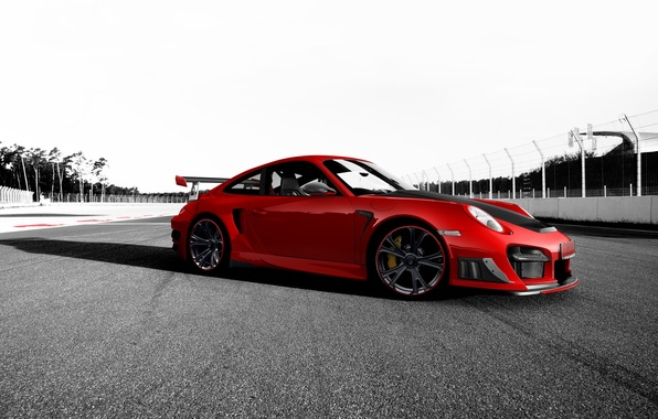 Картинка красный, тюнинг, 911, Porsche, порш, порше, трек, GT2 RS, Techart