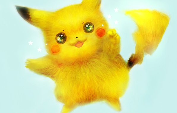 Картинка отражение, животное, аниме, арт, мех, пикачу, звездочки, pokemon, pikachu, 42 7