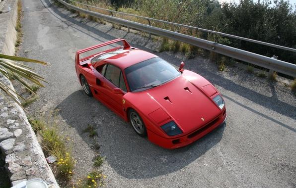 Картинка Красный, Дорога, Феррари, Асфальт, Ferrari, F40, Передок, Подъем