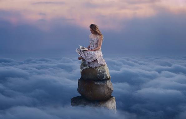 Картинка небо, девушка, книга