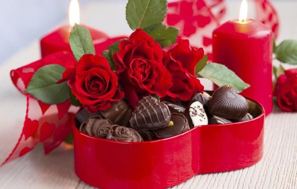 Картинка любовь, цветы, праздник, сердце, шоколад, розы, букет, свечи, конфеты, red, love, rose, wet, photography, heart, …