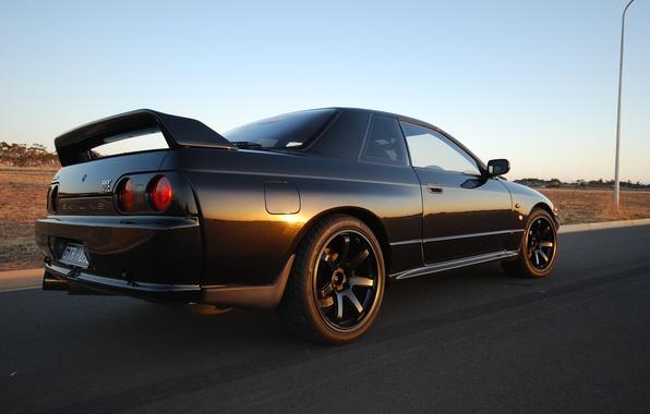 Картинка Япония, Ниссан, Обои, Дрифт, Japan, Nissan, GT-R, Drift, R32, Black, Coupe, Skyline, Wallpapers, Купе, Скайлайн, …