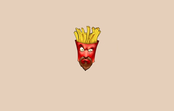 Картинка минимализм, Aqua Teen Hunger Force, Фрай, Frylock, картошка фри, Фрайлок