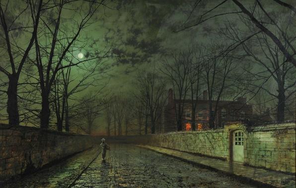 Картинка дорога, осень, девушка, облака, свет, деревья, ночь, ветки, дом, темнота, луна, улица, забор, окна, картина, …
