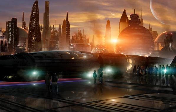 Картинка небо, закат, city, город, будущее, фантастика, планеты, здания, луны, поезд, станция, future, fantasy, спутники, небоскрёбы, …
