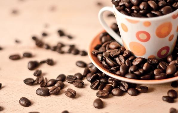 Картинка фон, widescreen, обои, зерно, кофе, еда, зерна, кружка, чашка, wallpaper, широкоформатные, background, coffee, полноэкранные, HD ...