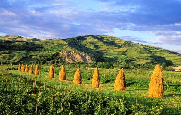 Небо поле холмы копна сено горы