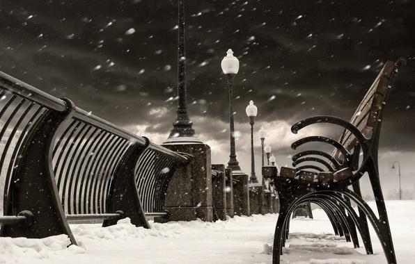 Картинка зима, снег, город, Канада, фонари, Монреаль, Canada, скамейки, лавочки, лавки, Quebec, Квебек, Montréal