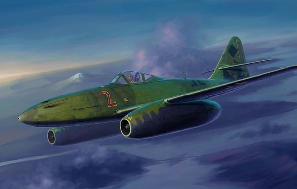 Картинка небо, рисунок, истребитель, Messerschmitt, реактивный, Вторая мировая война, немецкий, Me.262 A-1a, бомбардировщик и самолёт-разведчик, Мессершми́тт, …