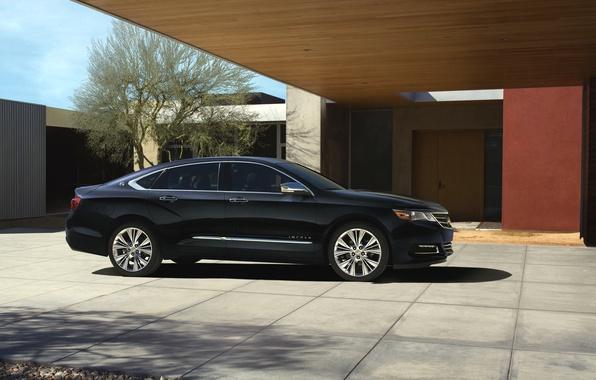 Картинка Авто, Черный, Chevrolet, Машина, День, Седан, Impala, Вид сбоку