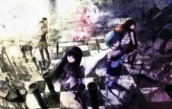 Картинка оружие, девушки, меч, аниме, арт, mahou shoujo madoka magica, akemi homura, kaname madoka, miki sayaka, …