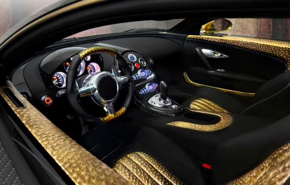 Картинка авто, золото, панель, кожа, приборы, руль, спорткар, салон, Mansory, Bugatti Veyron 16.4 LINEA Vincero d'Oro, …
