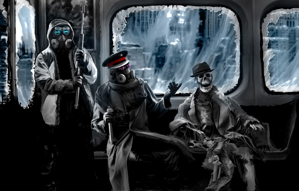 Картинка метро, паутина, шляпа, арт, скелет, противогаз, капитан, снайпер, винтовка, комикс, романтика апокалипсиса, romantically apocalyptic, alexiuss