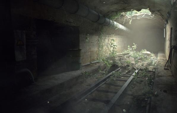 Картинка свет, трубы, рельсы, растения, дыра, туннель, рендер, проём, Miguel Oliveira
