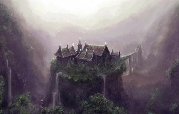 Картинка дом, обрыв, водопад, Рисунок