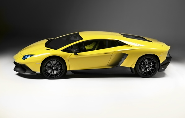 Картинка авто, Lamborghini, вид сбоку, yellow, LP700-4, Aventador, 50 Anniversario Edition