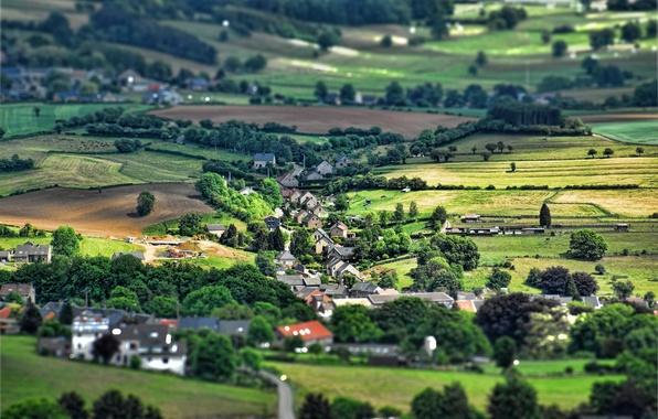 Картинка деревня, эффект, Бельгия, Tilt-Shift
