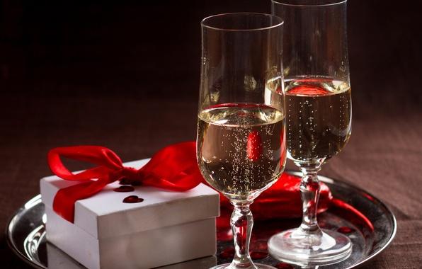 Картинка коробка, подарок, романтика, шампанское, бант, gift, champagne