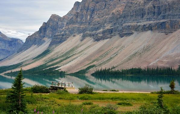 Картинка деревья, горы, озеро, причал, Канада, Альберта, мостик, Bow Lake