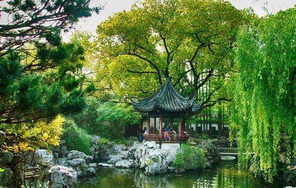 Картинка деревья, пруд, парк, камни, сад, Китай, Шанхай, мостик, беседка