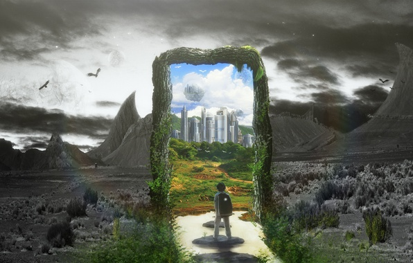 Картинка город, серый, мальчик, черно-белое, сказочный мир, Through, Проходя Через, Passing