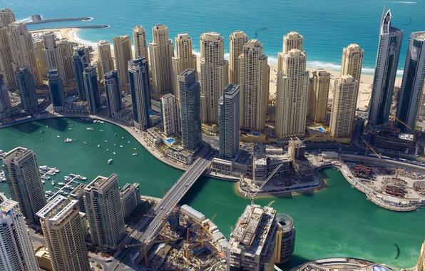 Картинка море, мост, побережье, здания, Дубай, Dubai, небоскрёбы, ОАЭ, UAE
