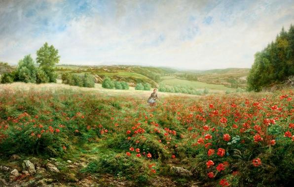 Картинка поле, девушка, деревья, пейзаж, цветы, холмы, маки, картина, JACOB PHILIPP HACKERT