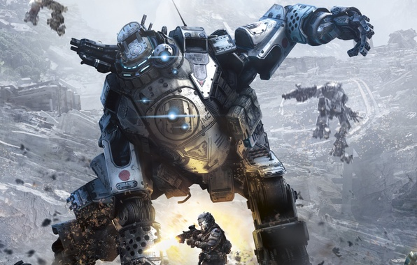 Картинка защита, Роботы, бой, солдат, разруха, Меха, пилот, боец, Electronic Arts, Атлас, Atlas, Titanfall, Respawn Entertainment, …