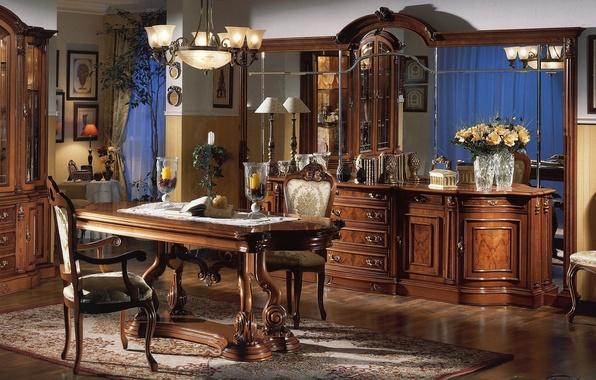 Картинка цветы, дизайн, стиль, стол, лампа, стулья, розы, интерьер, букет, свечи, зеркало, стул, кухня, люстра, зал, …