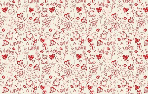 Картинка девушка, любовь, лицо, праздник, сердце, вектор, текстура, сердца, губы, рисунки, девочка, подарки, сердечки, губки, широкоформатные …