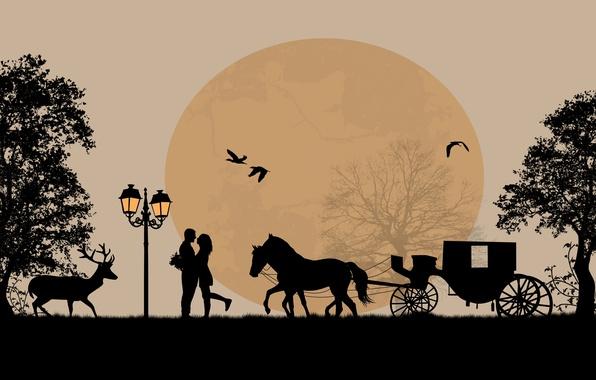 Картинка деревья, любовь, птицы, романтика, лошадь, пара, love, олени, телега, trees, birds, couple, horse, romance, deer, …