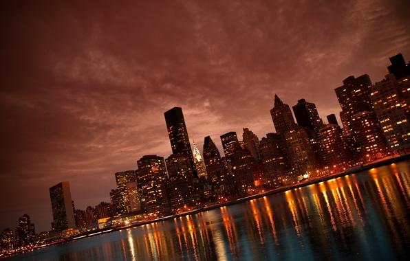 Картинка ночь, город, огни, река, небоскребы, Манхэттен, Нью Йорк, Manhattan, NYC