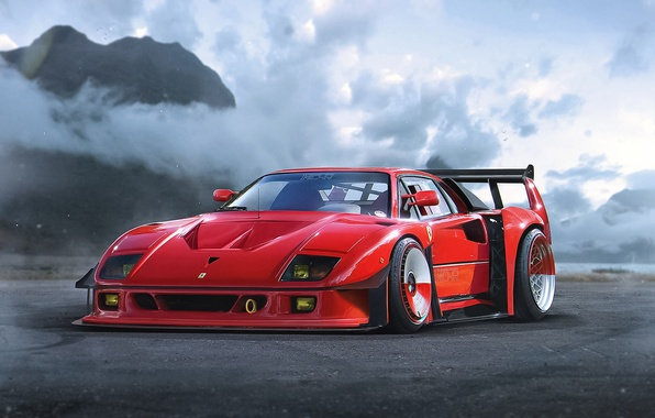 Картинка Concept, Ferrari, Red, F40, Car, by Khyzyl Saleem