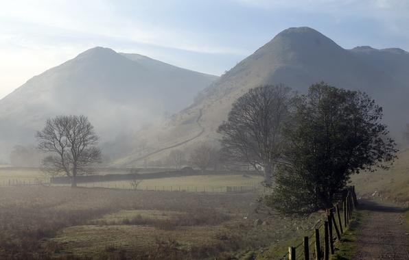 Картинка дорога, пейзаж, горы, туман, забор, утро