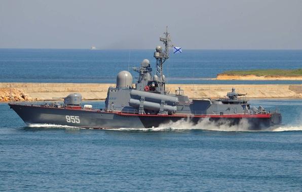 Картинка корабль, катер, ВМФ, флот, ракетный, Р-109, 1241, Флота, Черноморского, проекта, РФ.