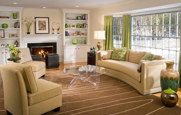 Картинка огонь, мебель, дома, интерьер, окно, кресла, камин, шторы, столик, цветы., диваны, гостиная, вазы, interior, home, …