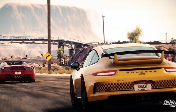 Картинка Porsche, Need for Speed, nfs, GT3, 2013, Ferrari 458, Rivals, NFSR, нфс